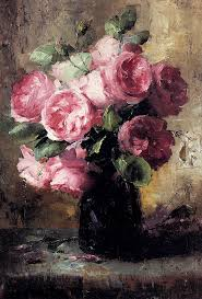 677x1000 las with flowers pink roses rose and oil oil painting flowers