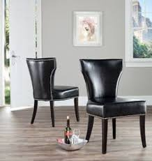 safavieh matty black leather nailhead dining chairs set of 2 contemporary dining