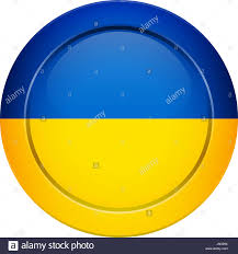Blue Button Designs Flag Design Ukrainian Flag On The Round Button Isolated