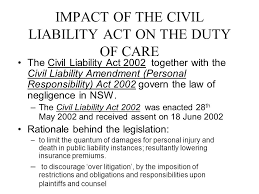impact of the civil liability act on the duty of care the civil liability act 2002