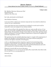 Culinary Cover Letter Cook Cover Letter Sample