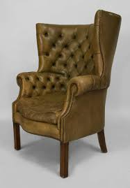 Leather Wingback Chair For Sale 19th Century Georgian Tufted Green Leather Wing Chair For Sale At