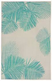 details about key largo palm fronds rug blue green 39 x 59 indoor outdoor rug