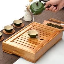 Bamboo Kongfu Tea Table Serving Tray Chinese Wooden Tea Tray Tea Set Water  Storage Traditional Teaware