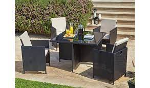 cube 4 seater rattan effect patio set