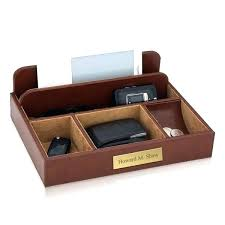 valet tray personalized brown leather mens wood
