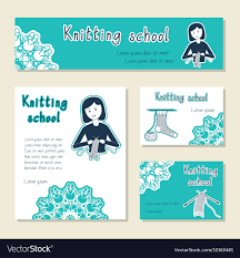 Knitting Cards Designs Set Of Cards Template For Knitting School Yarn