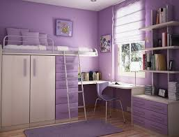 awesome teenage girls purple bedroom ideas with purple desk and bunk bed