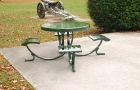 contemporary picnic table steel recycled plastic round steel 462