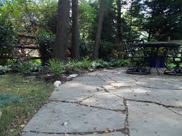 What to put between flagstone jointspolymeric sand or stone dust? Natural flagstone  patio