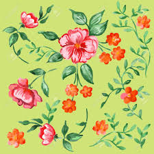Fancy Background Design Beautiful Handpainted Fancy Watercolor Flowers Isolated On