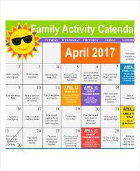 activity calendar template 12 free