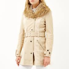lyst river island brown leather look faux fur trench coat in