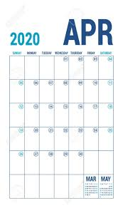 April 2020 Template April 2020 Calendar Blue Color Planner English Calender Template