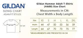 Gildan 50 50 Size Chart Gildan Hammer Adult T Shirts Ha00