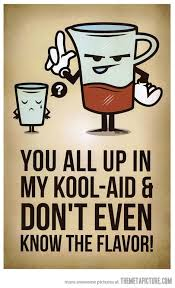 you all up in my kool-aid and you don't even know the flavor ...