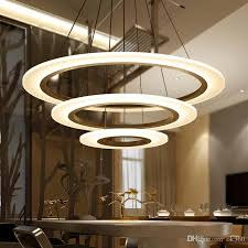 luxury modern chandelier led circle chandelier lights round acrylic ring chandelier lighting white sliver 110v 220v