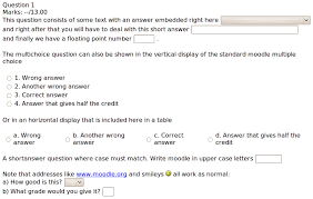 Sample Course Evaluation Form Classy Embedded Answers Cloze Question Type MoodleDocs