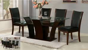 Lowest price online on all Steve Silver Berkley Glass Top Dining Table in  Espresso Cherry -