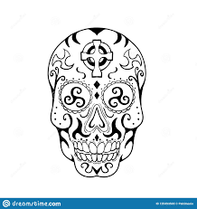 Mexican Skull Triskele Celtic Cross Tattoo Stock Vector
