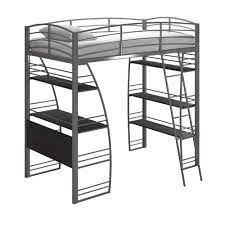 twin loft bed with integrated desk and