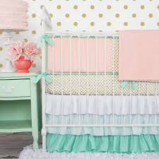 Country Style Baby Girl Bedding Set With Golden Polka Dot Pattern