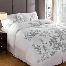 white duvet cover queen with grey fl pattern