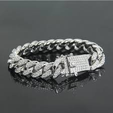 free dhl hip hop iced out chains full paved rhinestones bangle men s fashion jewelry charms bracelet gold silver color women gift g802f silver charm