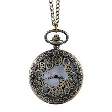 uni bronze steampunk pocket watch hollow quartz watches clock pendant necklace sweater chain for men s women gift