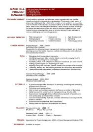 project manager cv template - Resume Sample For Project Manager