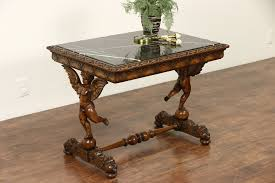 sold italian 1920 s antique coffee table carved angels or cherubs black marble harp gallery