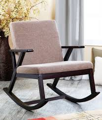wooden rocking chair with cushion