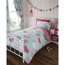 single bed peggy duvet quilt cover bedding set hearts polka dot fl duck egg blue pink lilac co uk kitchen home