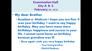 Write A Letter To Your Brother On His Birthday Youtube