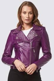 las domino purple rockstar women s real studded leather biker jacket 4326