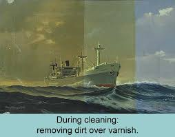 ship painting during cleaning removing dirt over varnish