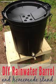 using a trash can as a diy rain barrel stand for a rainwater irrigation system