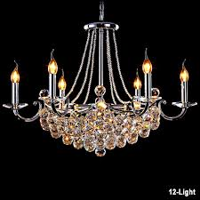 modern crystal candelabra chandelier in shiny silver 10 light or 12 light