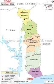 political map of togo  togo regions map
