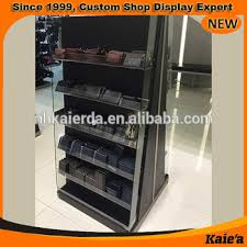 Free Standing Shop Display Units Fashion belt and wallet floor standing retail wooden display unit 85