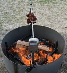 fire pit electric insert rotisserie kit turns your food for you so it cooks evenly
