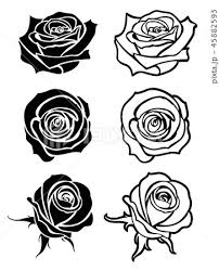 Close Up Rose Vector Tattoo Logos Floral Silhouettesのイラスト素材