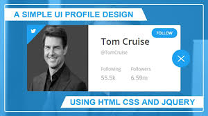 amp; Card Ui Youtube Css Design - Html Using Profile Simple