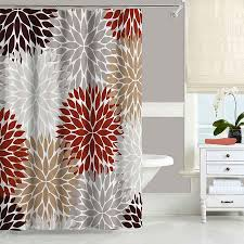 Dahlia Shower Curtain in Red Tan and Gray