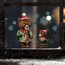 Fensterbild Weihnachtsdeko Weihnachten Bär Papabär Baby