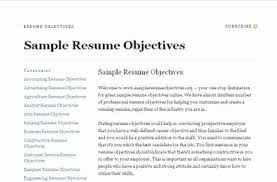 objective samples for a resumes resume objective samples for any job resume corner