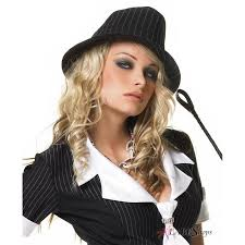 Pinstripe Womens Fedora Hat with Pinstripes - Black White Classic Brimmed
