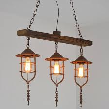 retro nautical wood beam metal rust cage shade rustic suspended pendant light