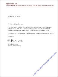 Letter Employment Verification Business Letters Employment