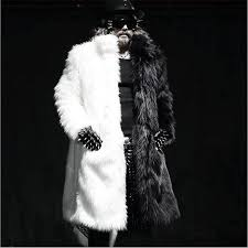 2019 whole winter men long faux fur coat black and white splice plus size parka coat fashion windbreaker design stage costume from red2016